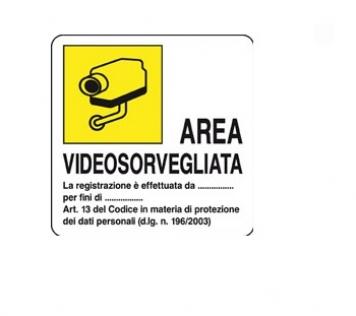 CARTELLO ALLUMINIO AREA VIDEOSORVEGLIATA