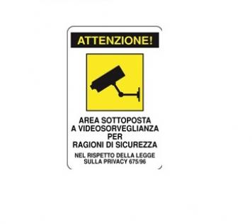 CARTELLO ALLUMINIO AREA VIDEOSORVEGLIATA 200x300